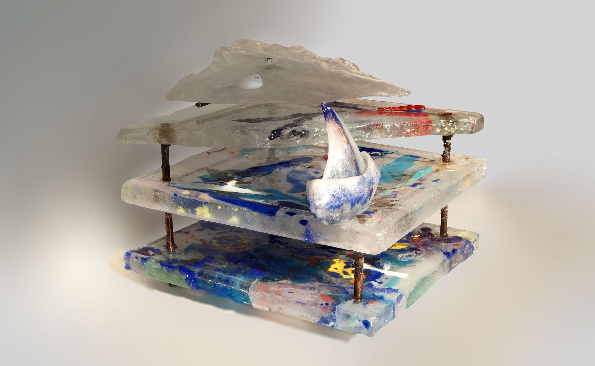 """""""Cristal flow""""- casting glass. 30x 30x 38"""