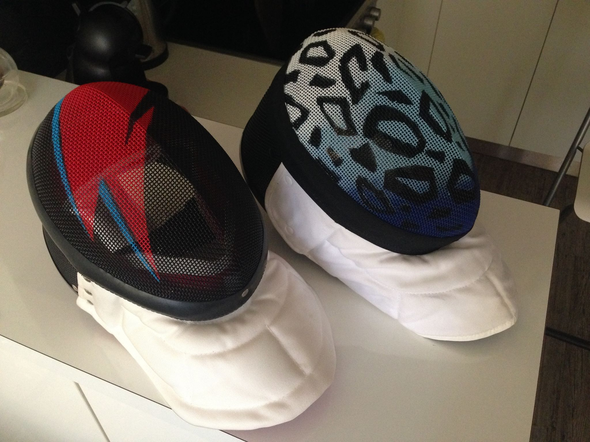 Custom painted fencing masks